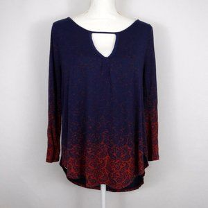 Lucky Brand Blue Ombre Paisley Long Sleeve Top